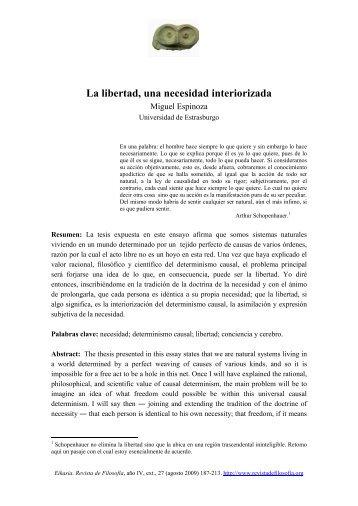 La libertad, una necesidad interiorizada - Eikasia Revista de Filosofía