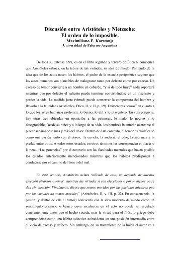 Discusión entre Aristóteles y Nietzsche: El orden de lo ... - Eikasia