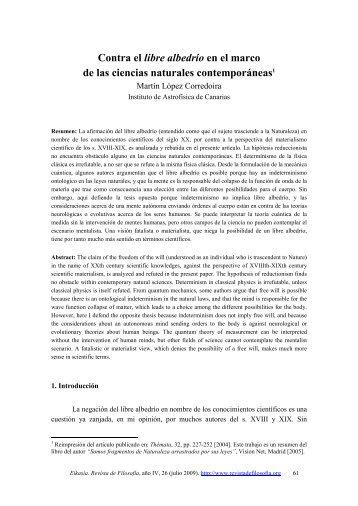 Contra el libre albedrío en el marco de las ciencias naturales - Eikasia