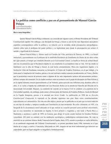 La política como conflicto y paz en el pensamiento de Manuel García