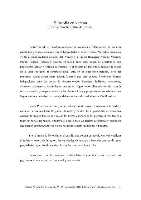 Ricardo Sánchez Ortiz de Urbina. Filosofía en verano, pp.5 ... - Eikasia