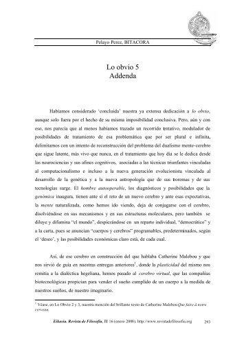 Lo obvio 5. Addenda, pp. 293-313» por Pelayo Perez - Eikasia