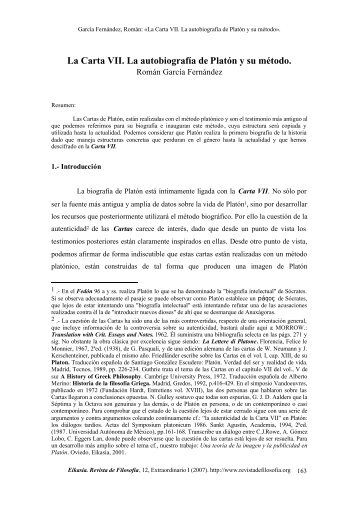 La Carta VII. La autobiografía de Platón y su método. - Eikasia