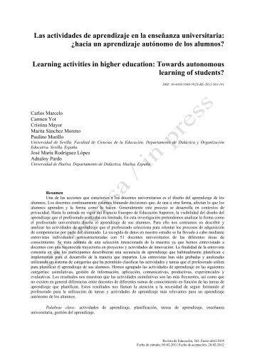 Las actividades de aprendizaje en la enseñanza ... - ResearchGate