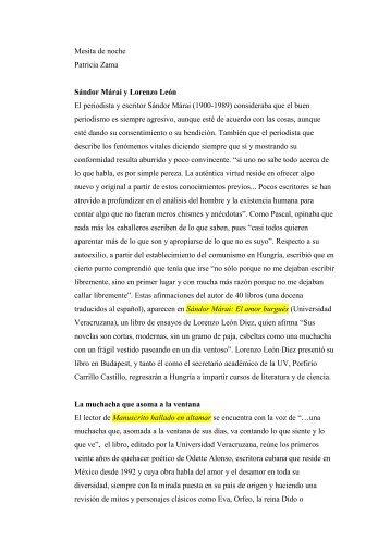 Mesita de noche Patricia Zama Sándor Márai y ... - Revista EL BUHO