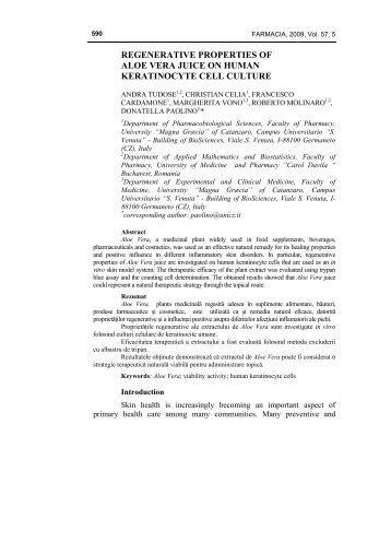 regenerative properties of aloe vera juice on human ... - farmacia