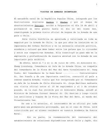 1 VISITAS DE ARMADAS ORIENTALES El ... - Revista de Marina