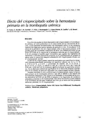 efecto del crioprecipitado sobre la hemostasia primaria ... - Nefrología