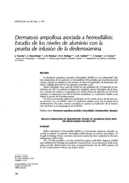 dermatosis ampollosa asociada a hemodiálisis: estudio ... - Nefrología