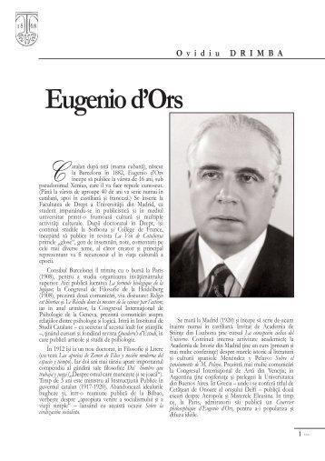 Ovidiu Drimba, Eugenio d'Ors