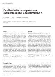 Excrétion lactée des mycotoxines : quels risques pour le - Revue de ...