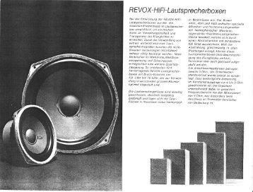 R EVO X- H i Fi- Laut s p rech e rboxe n - Revoxsammler