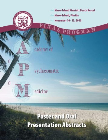 Poster & Oral Paper Presentations - Academy of Psychosomatic ...