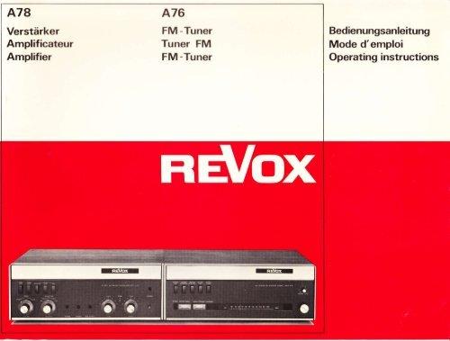 Mode d'emploi Operating instructions - Revoxsammler