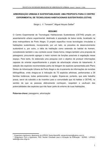 Arborização Urbana e Sustentabilidade - Revista da Sociedade ...