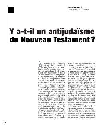 Y at-il un antijudaïsme du Nouveau Testament - Revue des sciences ...