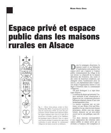 Espace privé et espace public dans les maisons rurales en Alsace