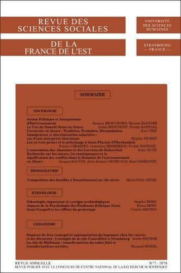 revue des sciences sociales de la france de l'est
