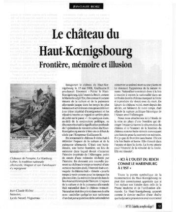 Le château du Haut-Kœnigsbourg - Revue des sciences sociales