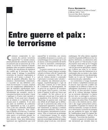 Entre guerre et paix : le terrorisme - Revue des sciences sociales