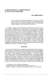 LE BILINGUISME ET L'APPRENTISSAGE D'UNE LANGUE ...