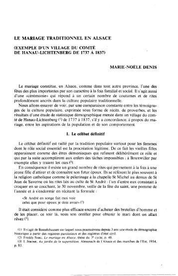 LE MARIAGE TRADITIONNEL EN ALSACE - Revue des sciences ...