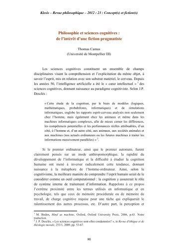 Thomas Camus - Philosophie et sciences cognitives : de l ... - Klesis