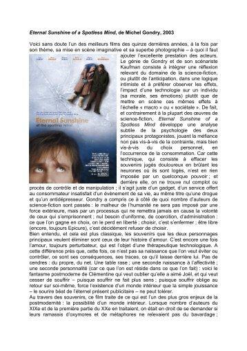Eternal Sunshine of a Spotless Mind, de Michel ... - Revuejibrile.com