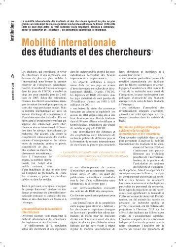 Mobilité internationale des étudiants et des chercheurs1