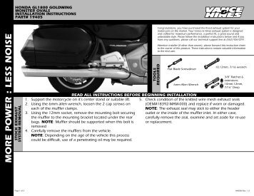 Installation Instructions - Vance & Hines