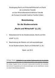 """Modulkatalog für die Studienvariante """"Recht und Wirtschaft"""" (LL.B.)"""