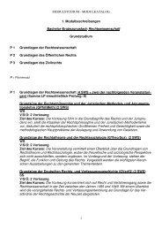 Modulkatalog zum Grundstudium - Rechtswissenschaftliche Fakultät