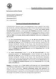 Infos und Termine für die Tutorien im Strafrecht BT