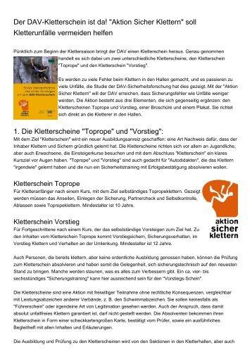 """Der DAV-Kletterschein ist da! """"Aktion Sicher Klettern ... - Dav-goslar.de"""