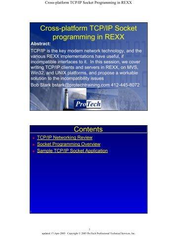 Cross-platform TCP/IP Socket programming in REXX Contents