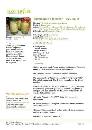 Salatgurken einkochen - süß-sauer - Rezeptwiese