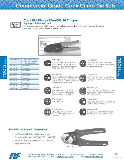 RG 213 9913 RG 11 RG 214//U RF Industries RFA-4087 Cable Stripping Tool RG 8