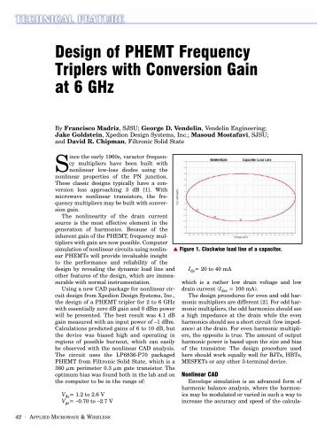 Design of PHEMT Frequency Triplers with Conversion Gain at 6 GHz