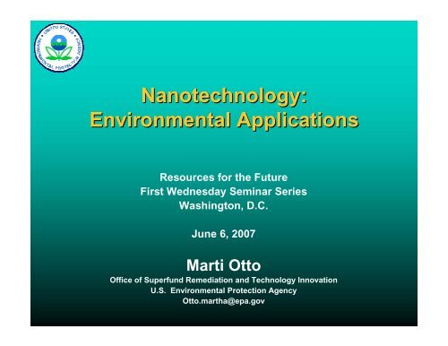 Nanotechnology: Environmental Applications - Resources for