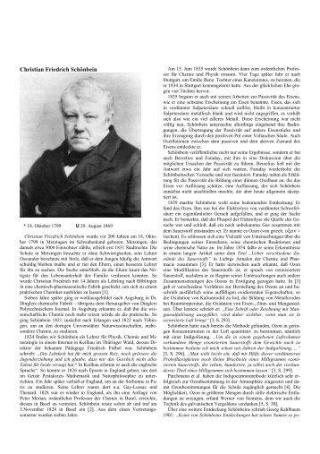 Christian Friedrich Schönbein - Didaktik der Chemie