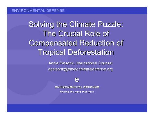 Compensated Reduction of Deforestation