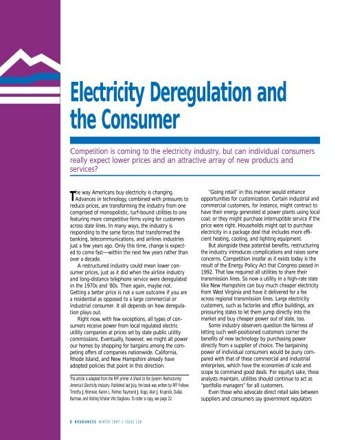 Electricity Deregulation and the Consumer - Resources for the Future