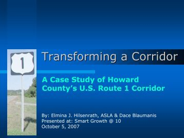 A Case Study Of Howard County's U.S. Route