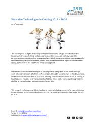 JSB Market Research: Wearable Technologies in Clothing 2014 - 2020
