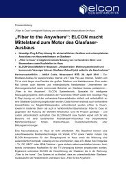 """""""Fiber to the Anywhere"""": ELCON macht ... - Elcon Systemtechnik"""