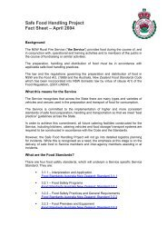 Safe Food Handling Project Fact Sheet - NSW Rural Fire Service