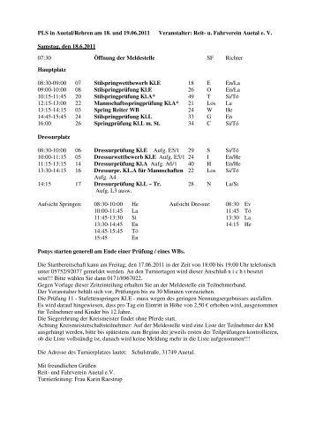 PLS in Auetal/Rehren am 18. und 19.06.2011 Veranstalter: Reit- u ...