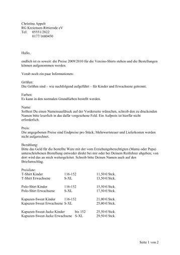 Bestellung von Vereinsshirts - RG Kreiensen - Rittierode eV