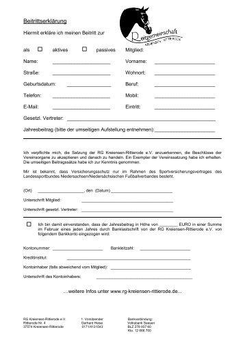 Beitrittserklärung - RG Kreiensen - Rittierode eV