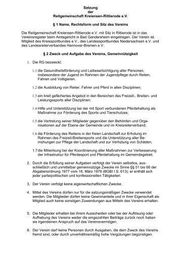 Satzung der Reitgemeinschaft Kreiensen-Rittierode e.V. § 1 Name ...